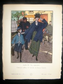 Gazette du Bon Ton by Brissaud 1914 Art Deco Pochoir. Sais-Tu Ta Lecon?